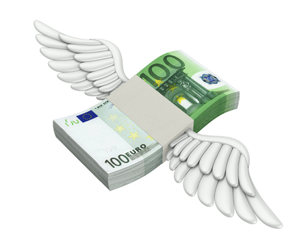 Euro Money Wings Flying Isolated Zdjęcie Seryjne