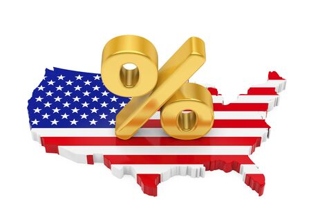 Percent Sign with United States Map Flag Isolated Stock Photo