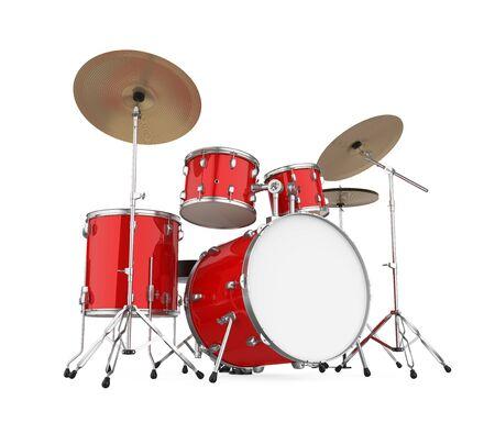 Rode Drumstel Geïsoleerd Stockfoto