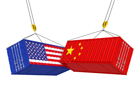 United States and China Cargo Container Isolated. Trade war Concept