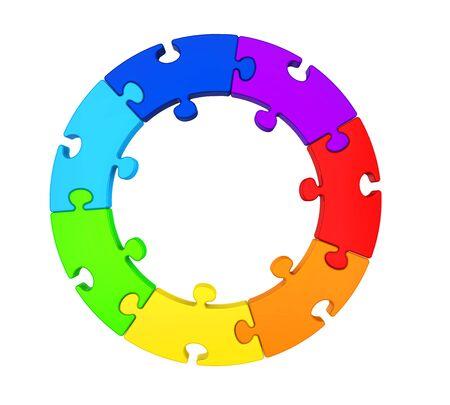 Seven Puzzle Pieces Circle Isolated Archivio Fotografico