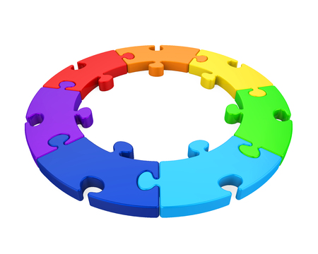 Seven Puzzle Pieces Circle Isolated Stock Photo