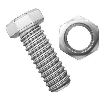 Bolt and Nut Isolated Stock Photo