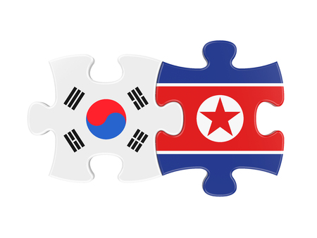 North Korea and South Korea Puzzle Pieces Isolated