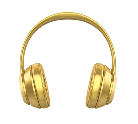Golden Headphones Isolated