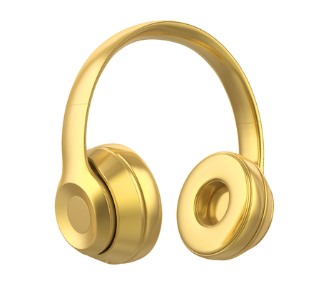 Golden Headphones Isolated