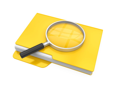 Folders and Magnifying Glass Isolated. File Search Concept Фото со стока