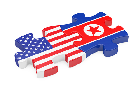 United States and North Korea Puzzle Pieces Isolated