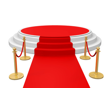 Podium with Red Carpet Isolated Stock Photo