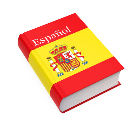 Spanish Dictionary Book Isolated