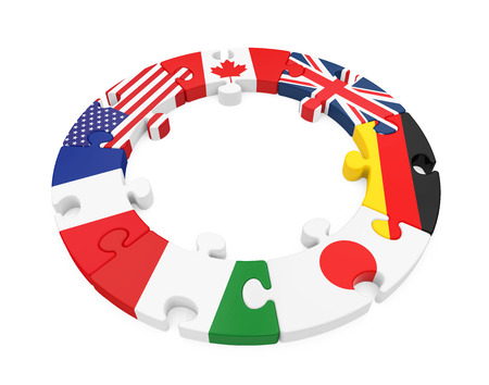 G7 Countries Circle Puzzle Isolated Stock Photo