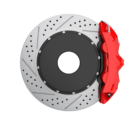 Car Brake Disc and Red Caliper Isolated