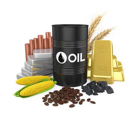 Surowce - ropa, złoto, srebro, miedź, kukurydza, węgiel, pszenica i ziarna kawy