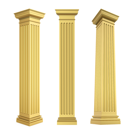 Golden Classic Columns Isolated