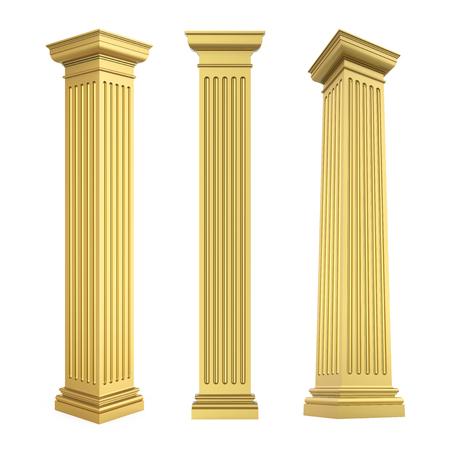 Złote klasyczne kolumny na białym tle