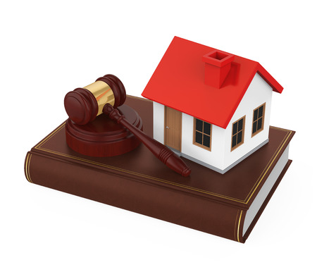 Judge Gavel with House Isolated Stock Photo