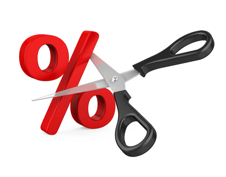 Percent Sign Cut and Scissors Isolated Archivio Fotografico