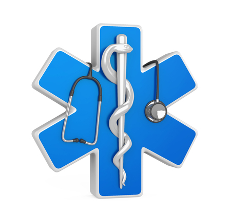 Star of Life Symbol with Stehoscope Isolated
