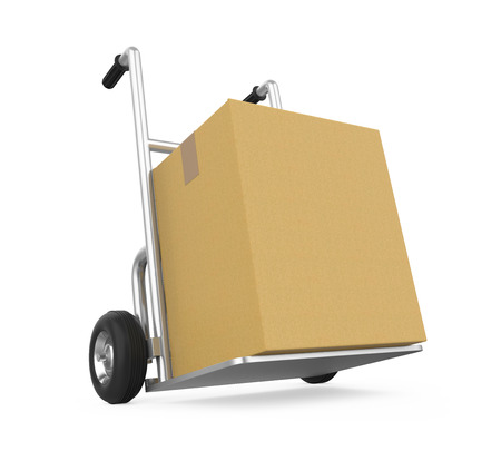 Hand Truck with Cardboard Box Isolated