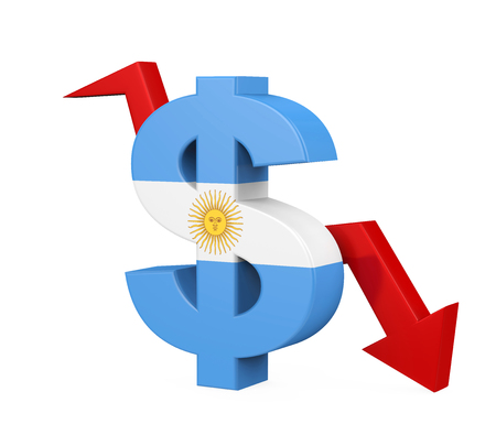 Argentine Peso Symbol and Arrow Isolated