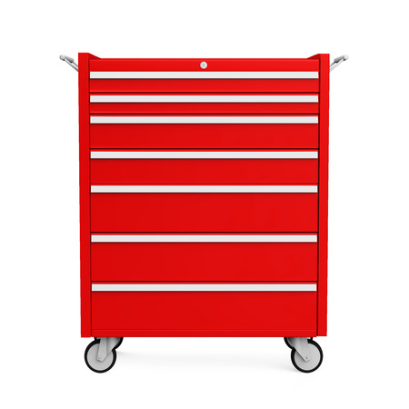 Red Tools Cabinet Isolated