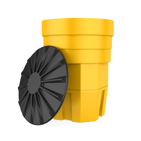 Yellow Sand Barrel Isolated Stock Photo