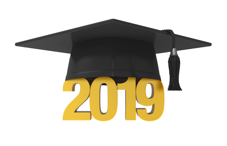 2019 Graduation Cap Isolated Banque d'images - 111685515