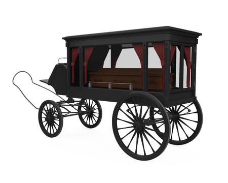 Horse Drawn Hearse Isolated Stock Photo