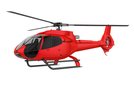 Red Helicopter Isolated Stock Photo