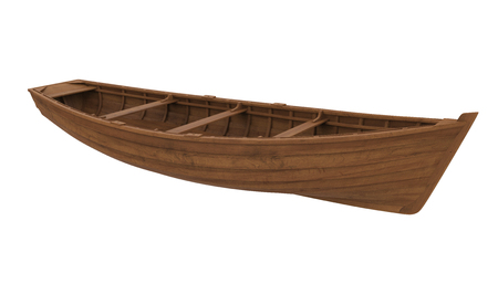Wooden Boat Isolated Stock Photo