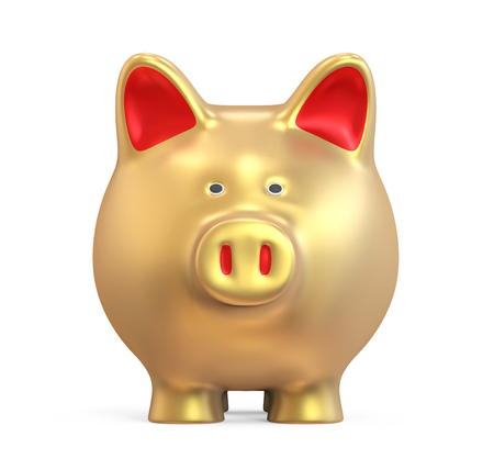 Golden Piggy Bank Isolated