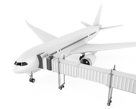 Airplane with Jet Bridge Isolated