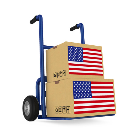 Cardboard Boxes with USA Flag with Handtruck Isolated