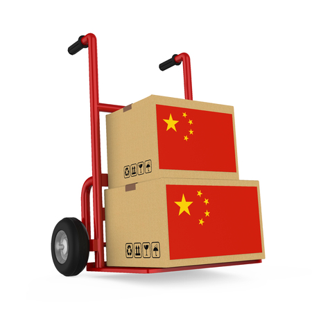 Cardboard Boxes with China Flag with Handtruck Isolated Stockfoto