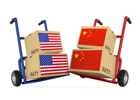 Cardboard Boxes with USA and China Flags with Handtrucks. Trade War Concept