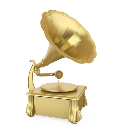 Golden Phonograph Isolated Stok Fotoğraf