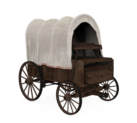 Covered Wagon Isolated Stockfoto