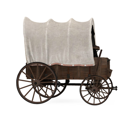 Covered Wagon Isolated Archivio Fotografico