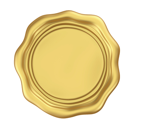 Golden Blank Wax Seal Isolated
