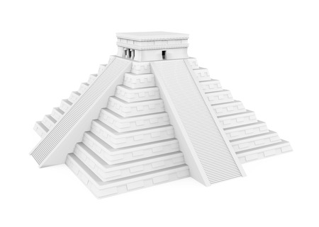 White Mayan Pyramid Isolated