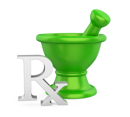 Mortar and Pestle with RX Prescription Medicine Symbol Isolated Reklamní fotografie