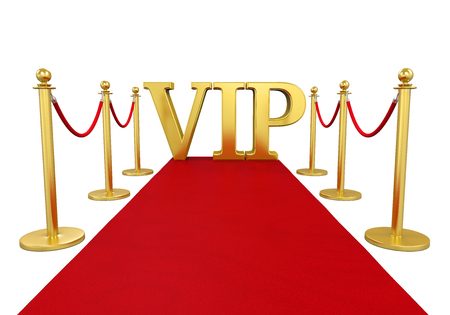 Barrier Rope with Red Carpet VIP Isolated