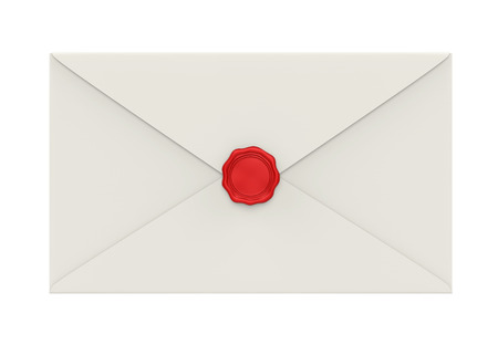 Envelope with Red Wax Seal Isolated