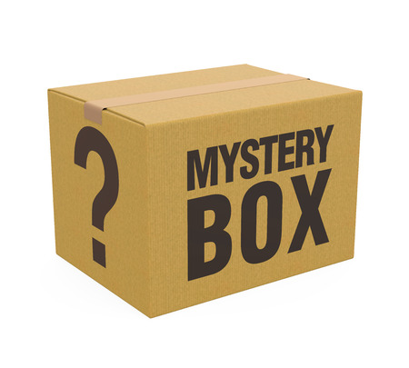 Caja misteriosa aislada Foto de archivo