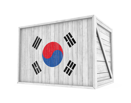 Wooden Crate South Korea Flag Isolated