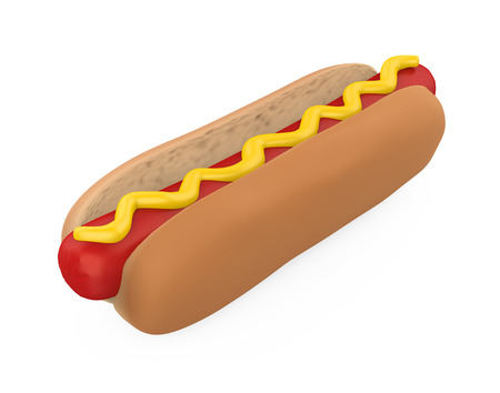 Hot Dog with Mustard Isolated Standard-Bild - 121389579