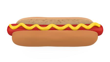 Hot Dog with Mustard Isolated Standard-Bild - 121389580