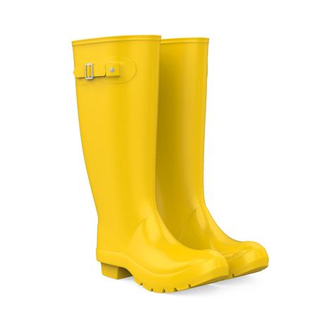 Yellow Gumboots Isolated