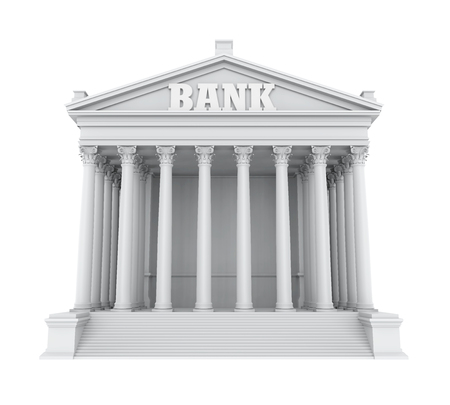 Bank Building Isolated Imagens