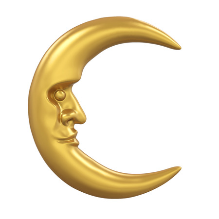 Golden Crescent Moon Isolated